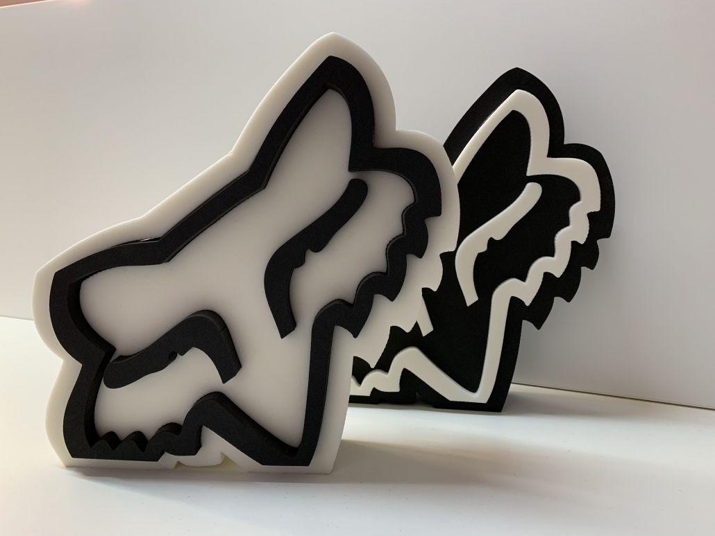Logo 3D foam fox head blanco